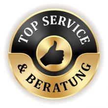 Goldener Top Service und Beratung Siegel mit schwarzem Rand
